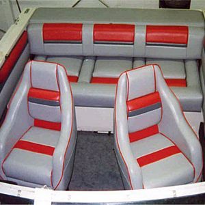 seattle speedboau upholstered in bright red and grey vinyl