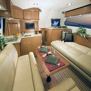 seattle yacht galley with sofa and galley seating