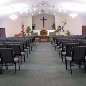 kirkland church chairs upholstered in grey fabric