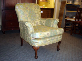 antique lady's side chair after reupholstering