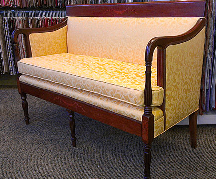 settee after new upholstery